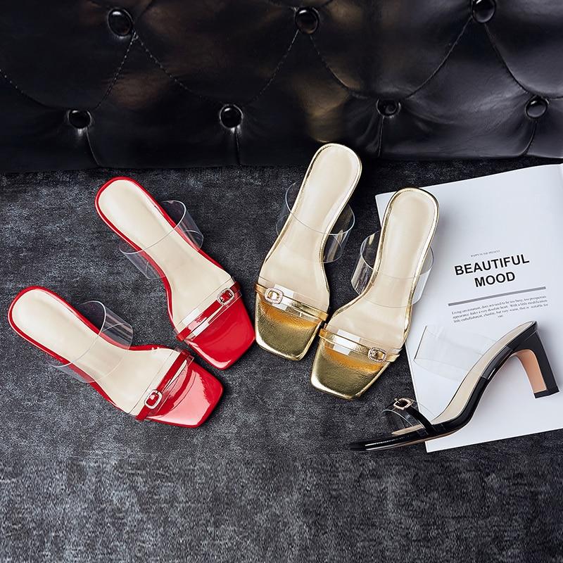 Chaussures De À Pantoufles Baiser Mouillé Pvc Femelle Femmes Ouvert Mode Mules Peau Transparent Femme Bout Cristal rouge Mouton Diapositives D'été or En Noir mNv8Pyn0Ow