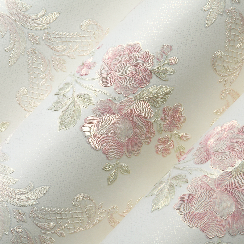 Pastoral Style Romantic Flowers Wallpaper 3D Stereo Embossed Non-Woven Wallpaper Living Room Bedroom Backdrop Wall 3D Home Decor
