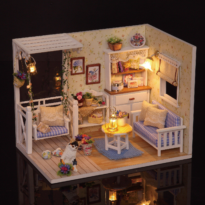 DIY Model Dollhouse Toy Furniture Miniature Doll house Dust Cover 3D Wooden Christmas Gift Toys For Children Kid Kitten H013 # E