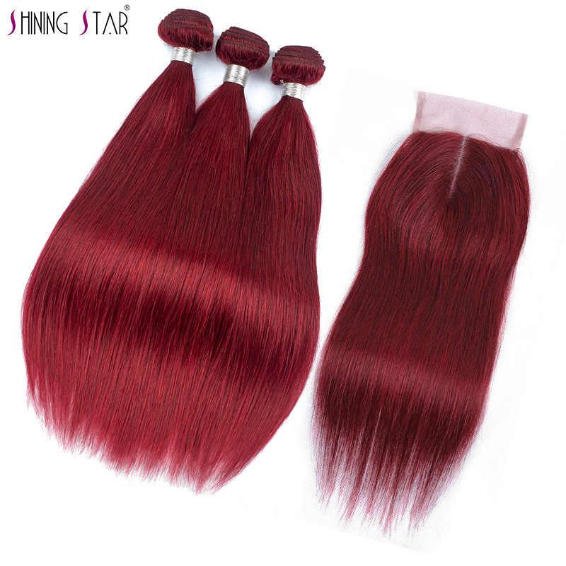 Shining Star 99J красный Малайзии прямые волосы Связки с закрытием бордовый человеческие волосы ткань 3 Связки с закрытием Nonremy толстые