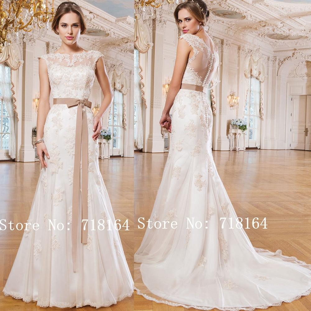 Vintage lace mermaid wedding dress see through back cheap for Wedding dress with see through back