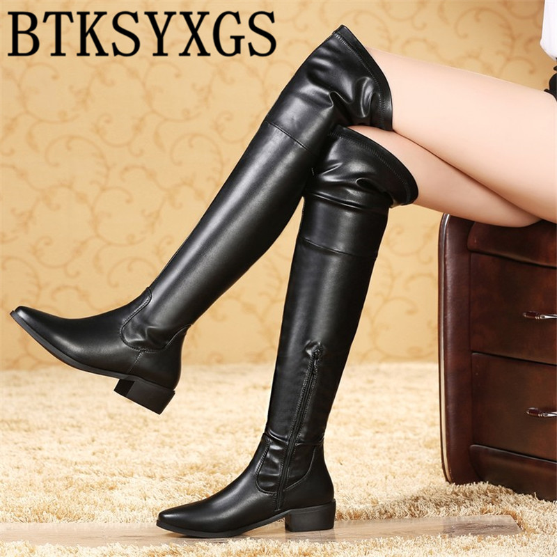 BTKSYXGS 2017 Sexy Women Over the Knee Snow Boots Leather Fashion Womens Thigh High boots Ladies Winter cotton shoes Woman/33-43 ppnu woman winter nubuck genuine leather over the knee snow boots women fashion womens suede thigh high boots ladies shoes flats