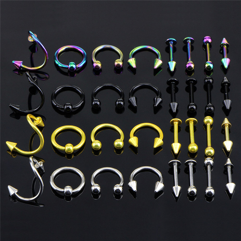 16PCS/Set Stainless Steel Eyebrow Bar Lip Nose Pircing Ear Studs Stainless Steel Mixed Body Jewelry Fashion Piercing Set(China)