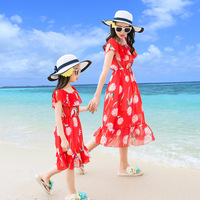 2018 Chiffon Parent daughter Dress Mom and Baby Matching Clothes Summer New Short Sleeve Red Couple Dress for Moms and Daughters