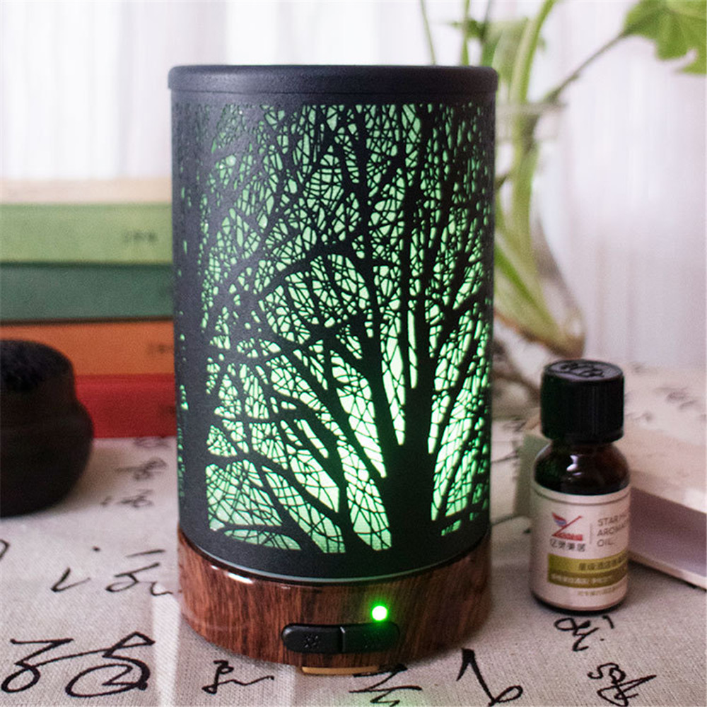 Tree Shadow Pattern Air Humidifier Essential Oil Diffuser Iron Art Humidificador Mist Maker LED Lamp Aroma Diffuser Aromatherapy