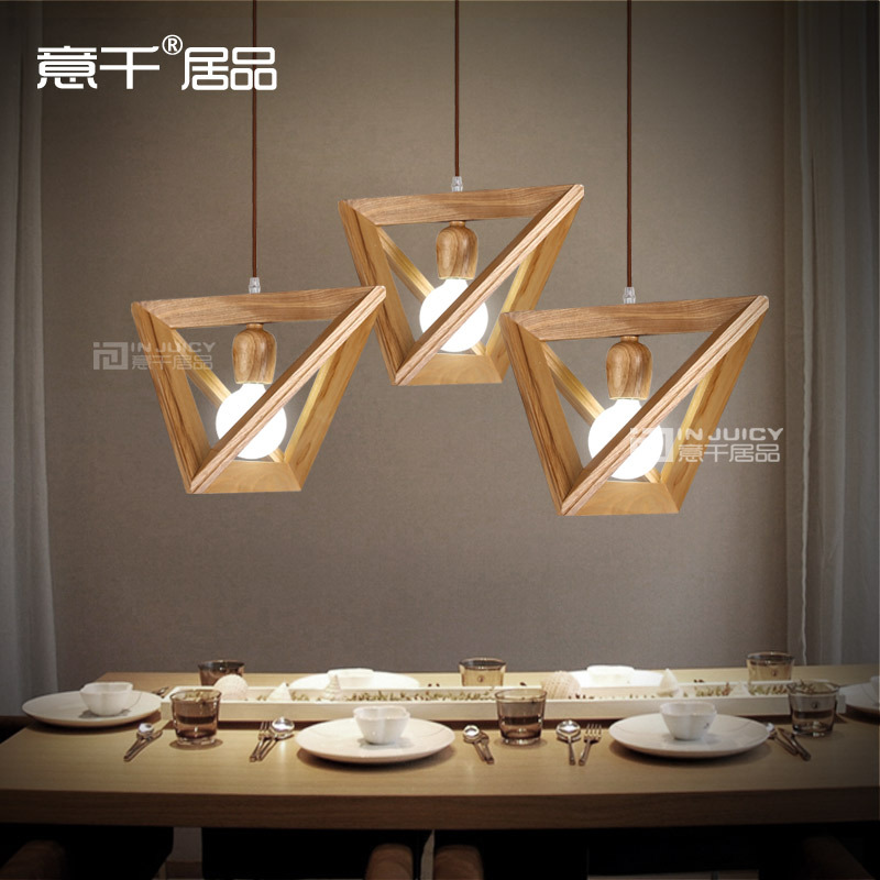 Vintage triangle solid wood ceiling lamp penant droplight for Ceiling lamp wood