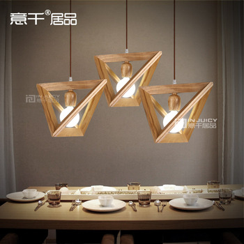 Vintage Triangle Solid Wood Ceiling Lamp Penant Droplight For Dinning Room Cafe