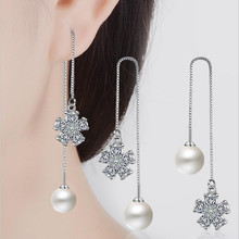 Everoyal Top Quality 925 Silver Tassel Earrings For Girls Accessories Fashion Pearl Zircon Flower Long Jewelry