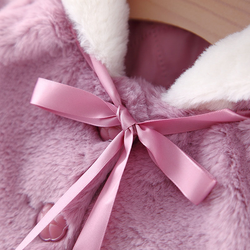 Winter warm velvet baby boys girls jackets children christmas cloak hooded thick jacket kids outwears (4)