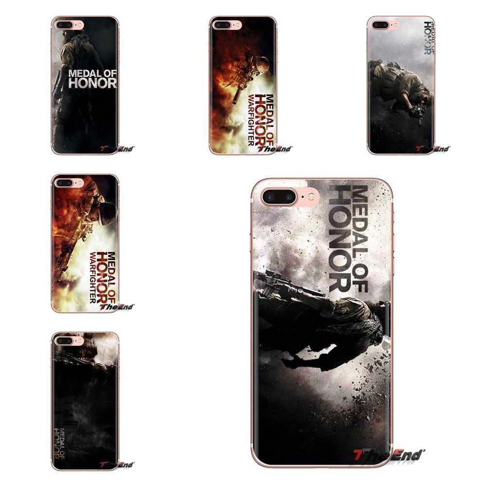 Lembut TPU Ponsel Cover Medali Kehormatan Logo Shooting Game untuk Samsung Galaxy S3 S4 S5 Mini S6 S7 Edge s8 S9 S10 Plus Catatan 3 4 5 8 9