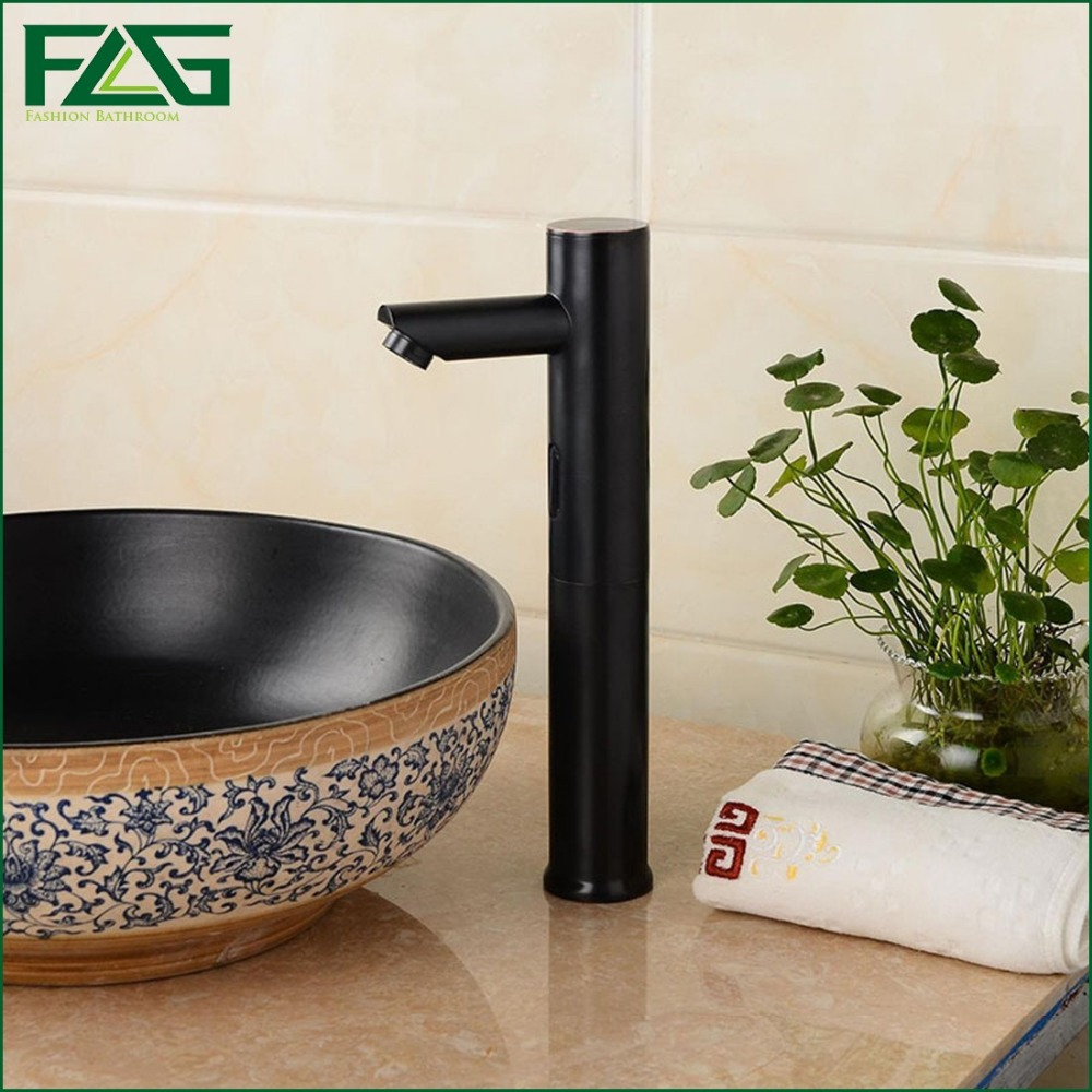 FLG Automatic Sensor Faucet Oil Rubbed Bronze Hands Free Black Basin Faucet Single Cold Water Tap Sink Tap Home Decoration T23
