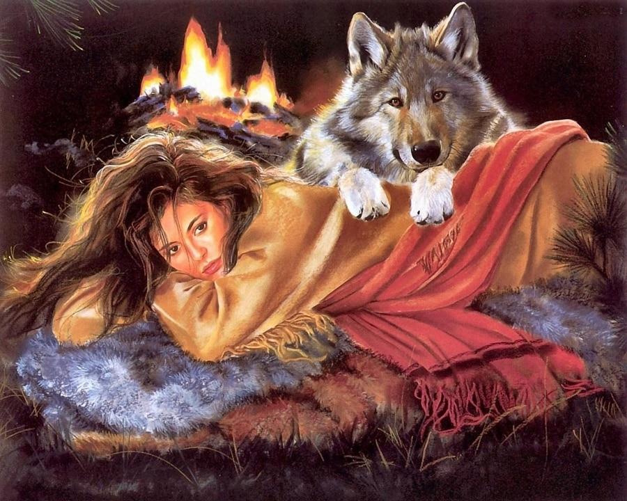Картинки девочка волк