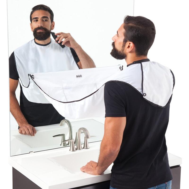 Male Beard Black White Apron Bib Trimmer Facial Hair Cape Sink Shaving Beard Apron Waterproof Bathroom supplies 120x70cm|Aprons|   -