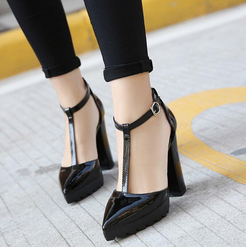 Black Épais Hauts Talons Dames T Sangle Chaussures Partie Pompes Sexy Bout Cuir Stilettos Pu Robe Pointu Femmes awqHRzBw