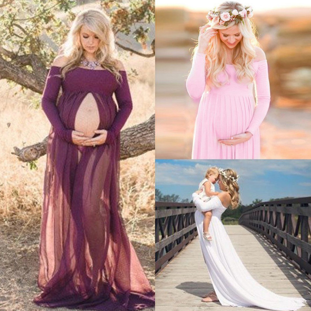 High Slit Pregnant Women Maxi Dresses Maternity Gown Photography Props Photo Shoot цена 2017