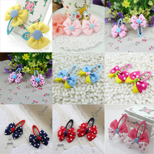Hot Sale Colorful Baby Bow Dot Hairpins For Girls Grosgrain Hair Clip Accessories Children Ribbon Bowknot Hair band Statement
