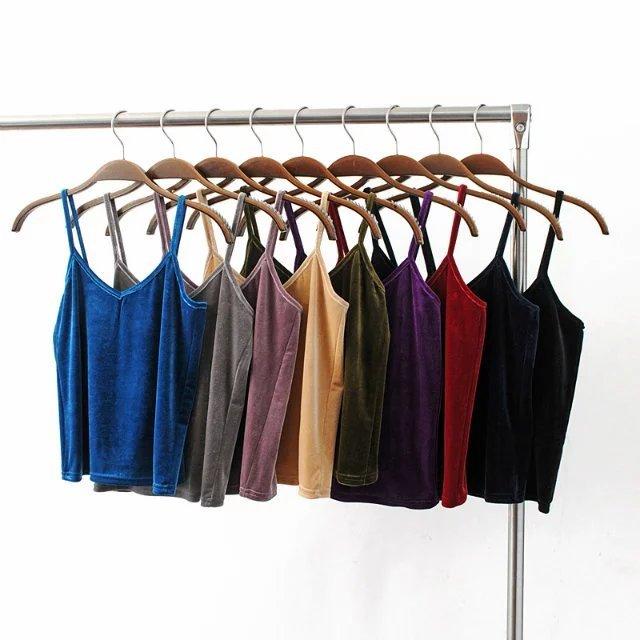Europa na primavera de 2017 nova moda de todos os jogos das mulheres sólida fino curto de veludo suspensórios colete assentamento camisa