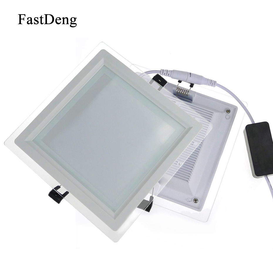 Led Panel Light Glass Panel Led Indoor Kitchen AC85-265V Down Light Dimmable 6W 12W 18W Led Ceiling For Bathroom Dining Room free shipping 5pcs rgb led panel light 18w rgb contrallar led panel light square 300x300mm 85 265v led dimmable panel ceiling