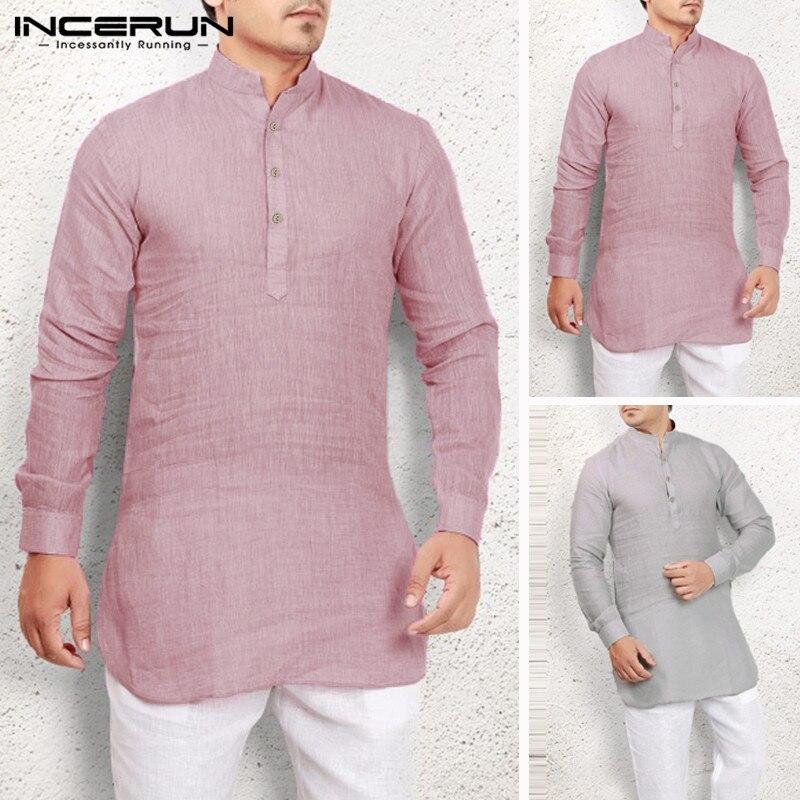 INCERUN Men's Loose Stand Collar Long Sleeve 2020 Arab Muslim Solid Color Robe Saudi Arabia Middle Eastern Robe Men Jubba Thobe