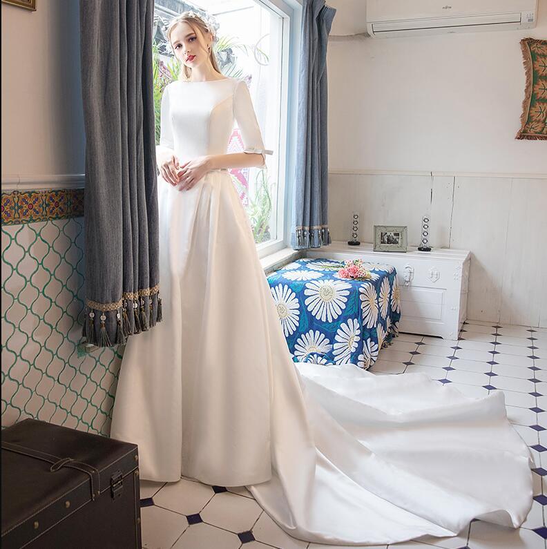 Modest Wedding Dresses 2019: 2019 New Simple A Line Satin Modest Wedding Dresses With