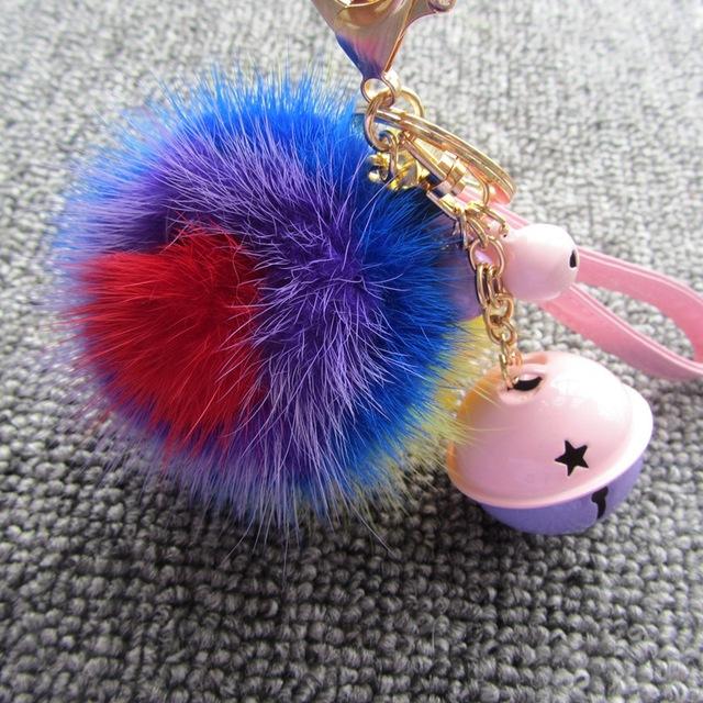 Llavero de cuero-8 cm Rainbow Sun Flower Bola de pelo de Visón pompón Bolsa Colgante Llavero Adornos de Cuero Cuerda Jingle Bell Clave cadena