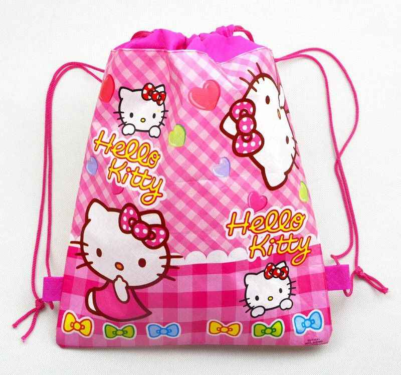 2 new style non-woven fabric cat print backpack party supplies child travel school bag decoration mochila cartoon drawstring bag