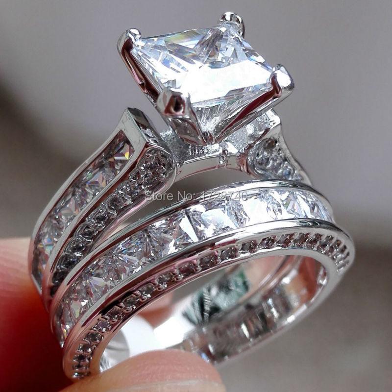 sz5 10 victoria engagement princess cut 7mm zircon white gold filled women wedding ring set - Womens Wedding Ring Set