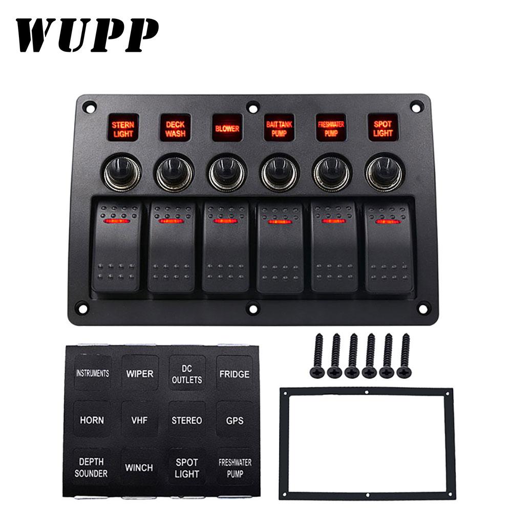 WUPP 6 Gang Boat Rocker Switch Panel  Auto/Marine/Yacht AC/DC LED Light Waterproof  Circuit Breakers Switch Panel