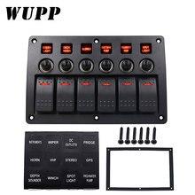 WUPP 6 Gang Barca Rocker Switch Panel Auto/Marine/Yacht AC/DC HA CONDOTTO LA Luce Impermeabile Interruttori interruttore Sul Pannello