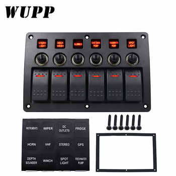WUPP 6 Gang Boat Rocker Switch Panel  Auto/Marine/Yacht AC/DC LED Light Waterproof  Circuit Breakers Switch Panel - DISCOUNT ITEM  35% OFF All Category