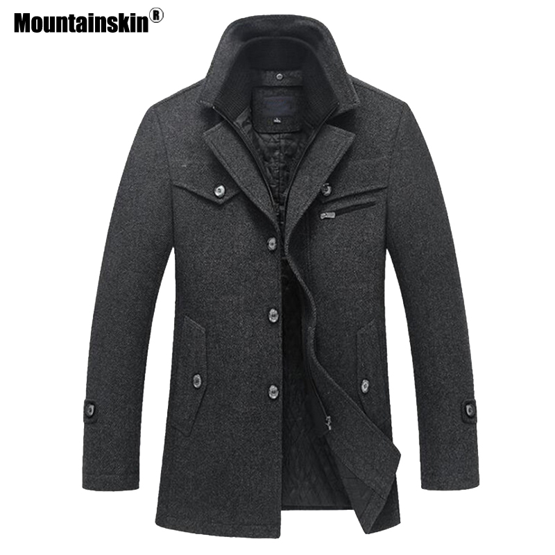 Mountainskin 冬男性厚いコートスリムフィットジャケットメンズカジュアル暖かい上着男性のウールのジャケット男性ブランド服 4XL SA606  グループ上の メンズ服 からの ウール混紡 の中 1