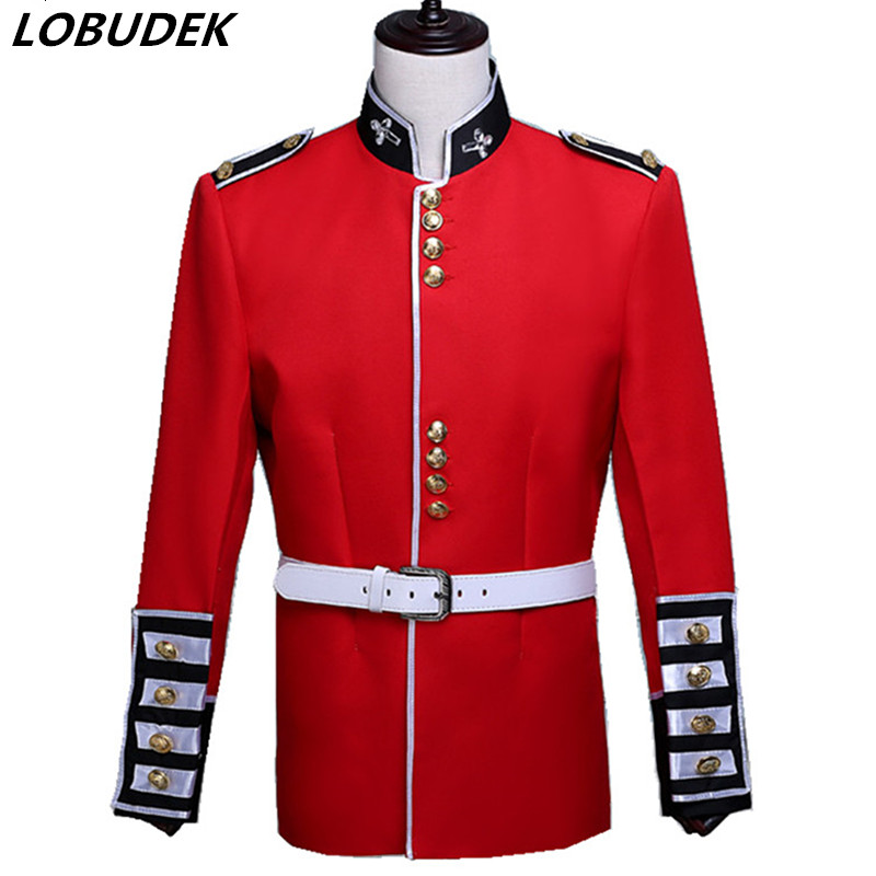 (jacke + Hosen) Männliche Kostüm Anzug Rot Armee Sänger Königlichen Garde Prinz William Europäischen Stil Palast Kostüm Kleid Männlichen Soldat