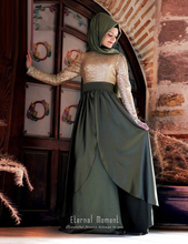 2016 Elegant Muslim A Line Evening Dress Hijab Full Sleeve Dubai Kaftan Arabic Long Formal Evening Gown