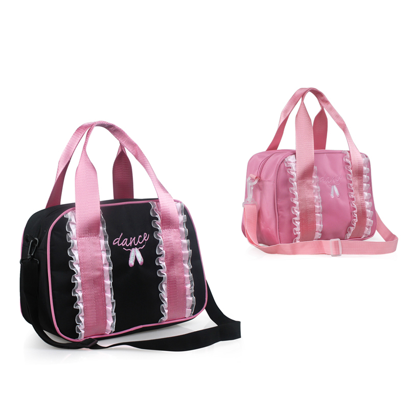 Adults Women Black/Pink Embroidery Ballet Bag Girls Lace Dance Bag For Ballet Children Handbags Printed Dance Shoes Messager Bag