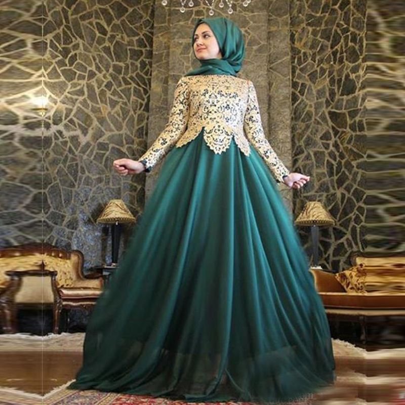 2015 emerald green hijab long sleeve evening dresses muslim women high neck with lace chiffon. Black Bedroom Furniture Sets. Home Design Ideas