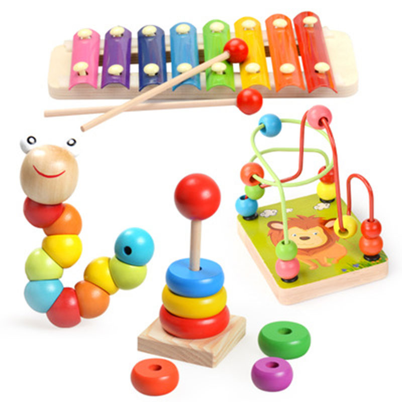 AIYOU Early Education four-piece Set Of Wooden Toys To develop hands-on Ability Wooden Toys Parent-child Game Wood Toys montessori education wooden toys four color game color matching early child kids education learning toys building blocks