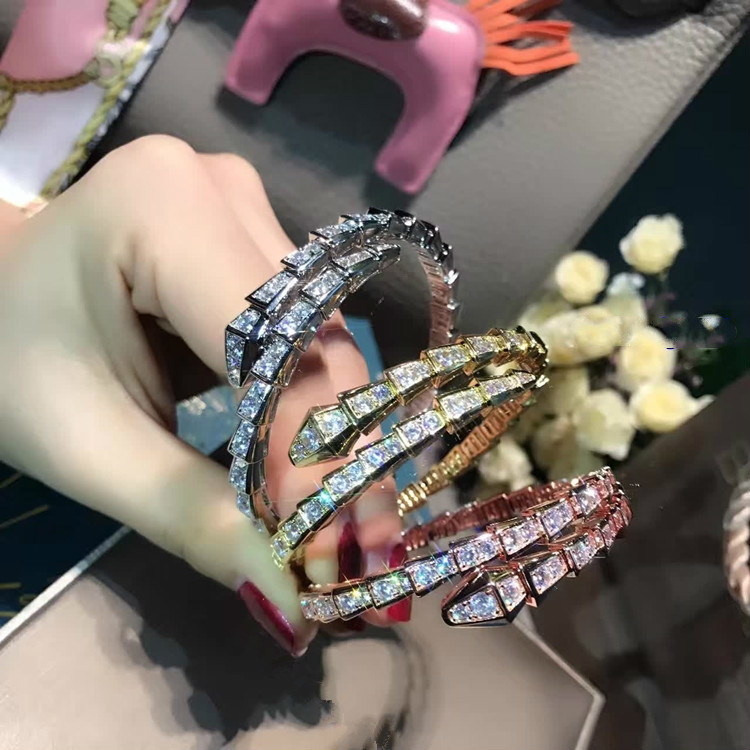 925 Silver Jewelry Pure Fund Snake Head Ring Bracelet Rose Gold Golden Snake Chain Bracelets For Women Fashion Bangles Brand
