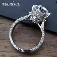 Женское Винтажное кольцо Vecalon, круглое кольцо из стерлингового серебра 925 пробы с фианитом ааааа 3 карат
