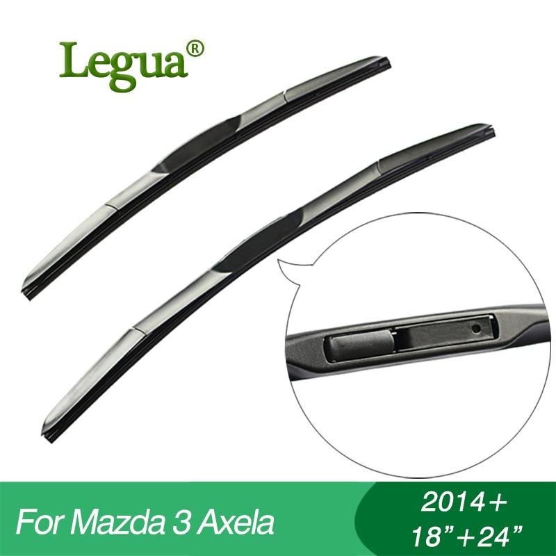 """Legua чистачки за чистачки за Mazda 3 Axela (2014 +), 18 """"+24"""", чистачка за кола, 3 секции гума, предно стъкло, аксесоар за кола"""