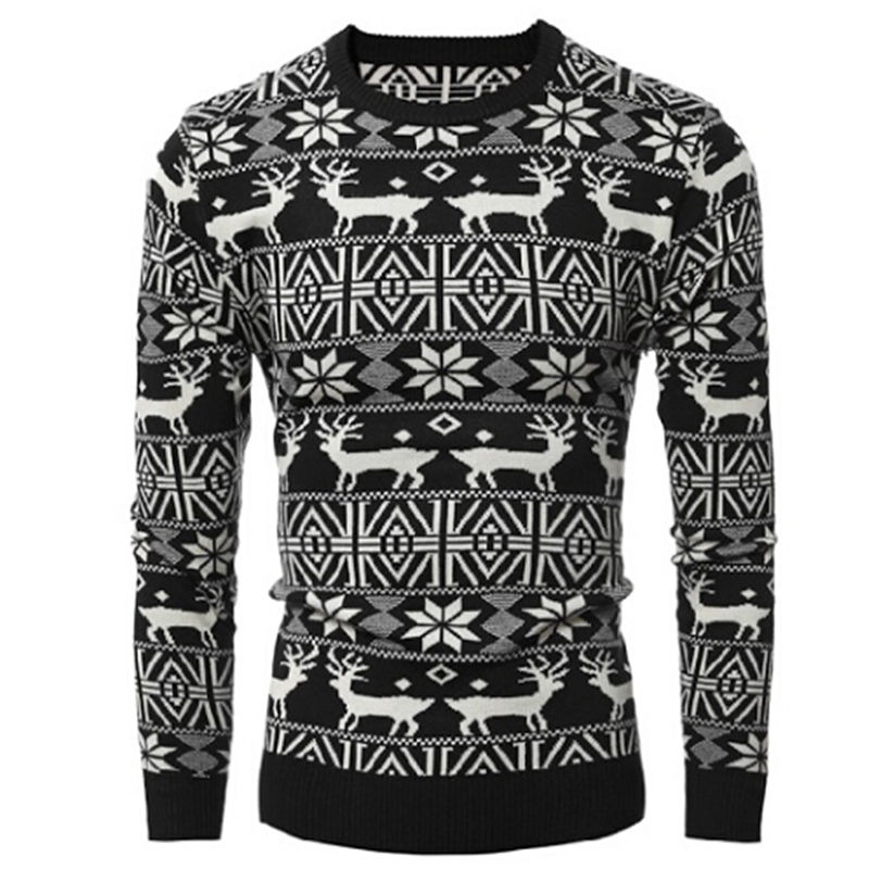 New 2017 Winter Mens Thick Fashion Warm Christmas Sweater With Deer Print Casual Pullovers Sweaters Men
