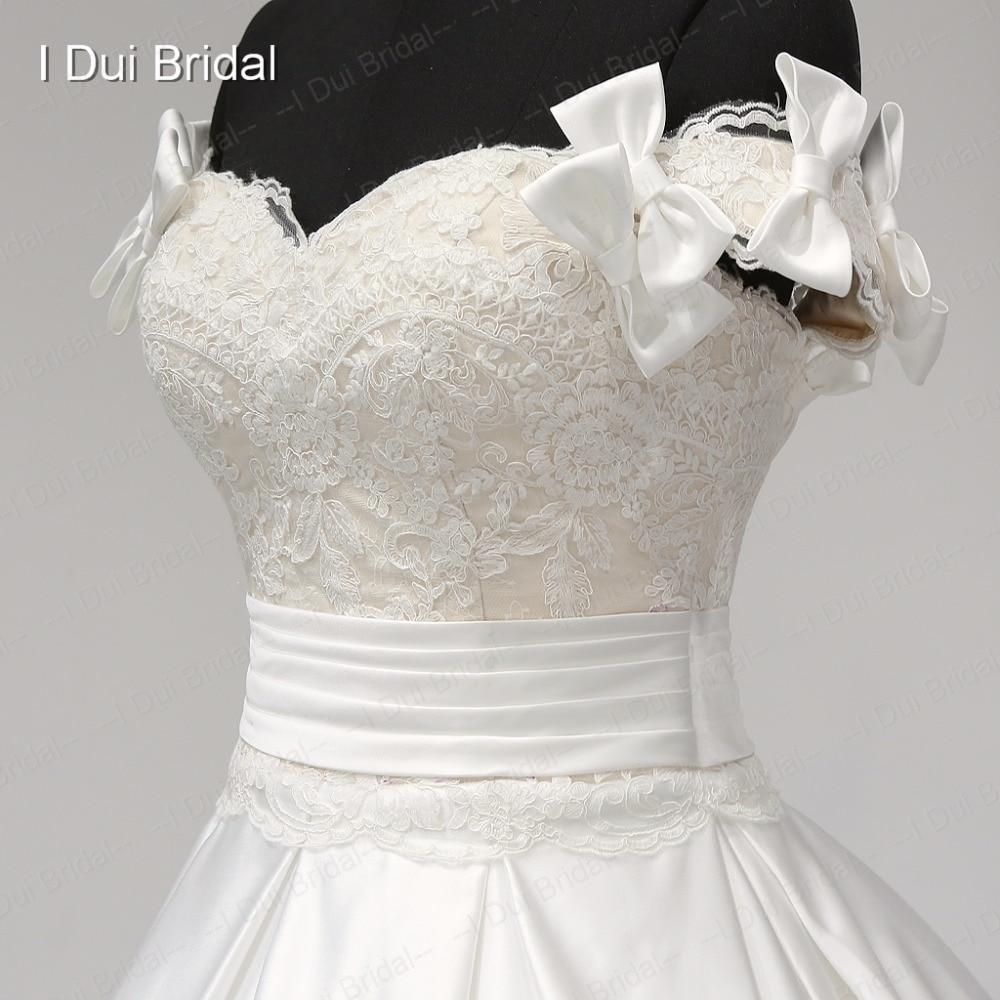 Aliexpress.com : Buy Detachable Bow Strap Satin Wedding Dresses with ...