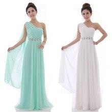 Мятно-зеленого цвета, платье подружки невесты на одно плечо шифоновое платье для подружки невесты школьные Вечерние платья на выпускной T010