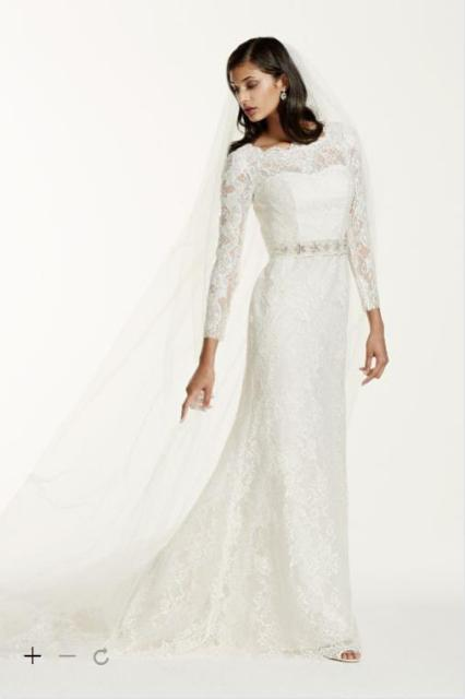 2016 Long Sleeve Sheath Wedding Dresses The Whole Body Lace With Illusion Jewel Neckline And Removable