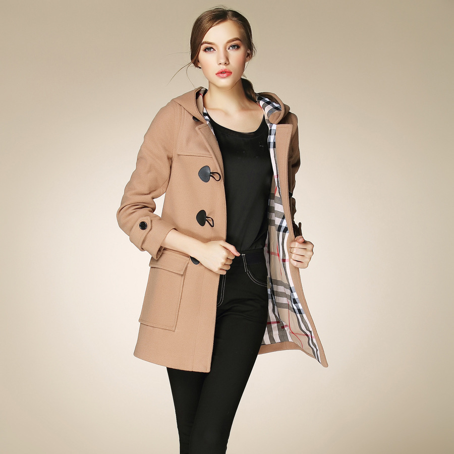 Fasicat High Quality Womens Duffle Coat Long Turn Down Collar ...