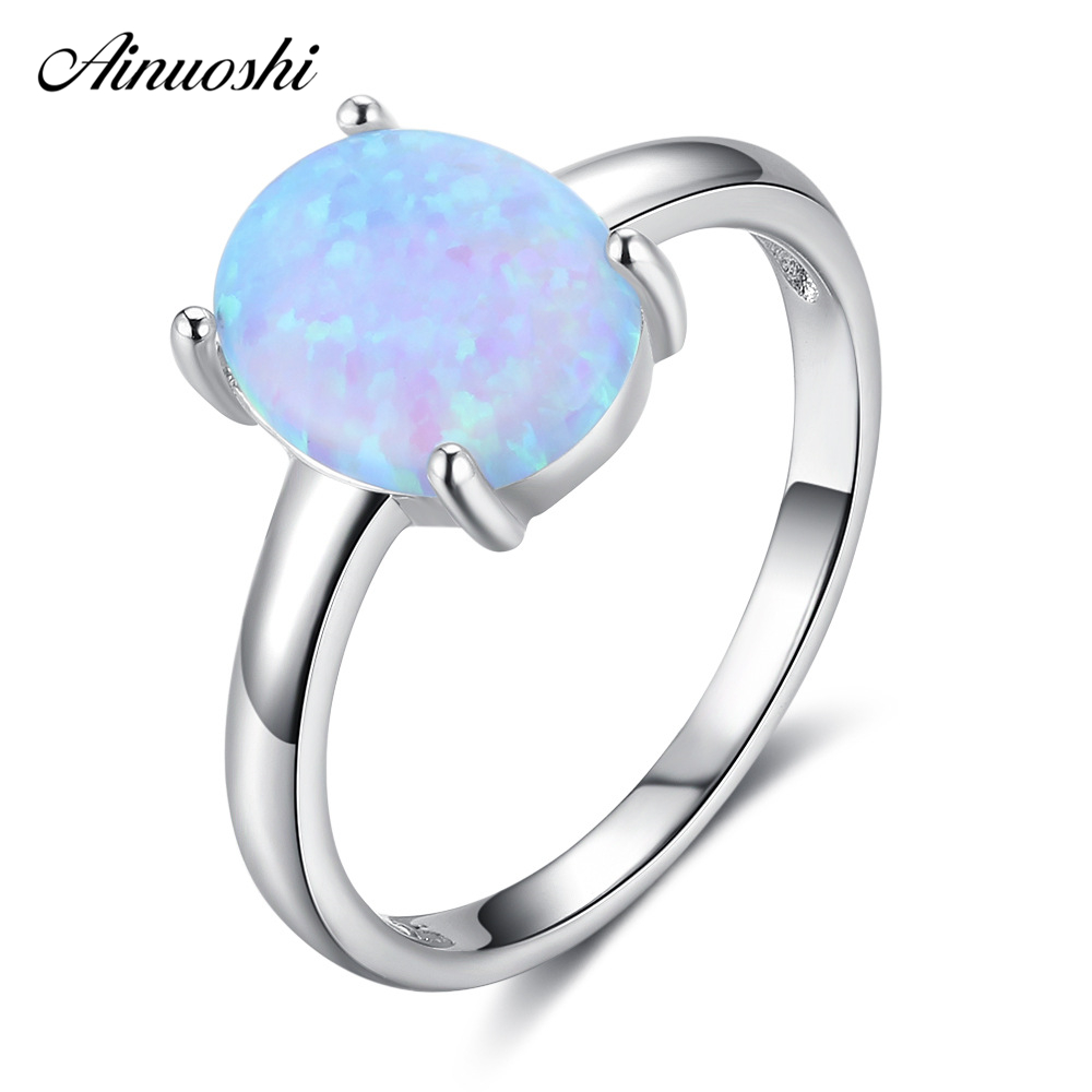 AINUOSHI Pure 925 Silver Oval Ring Prong Setting Sky Blue Opal Brilliant Ring Engagement Wedding Bridal Band Jewelry Lovers Gift