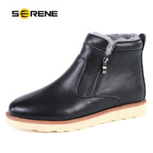 SERENE Brand 2017 Men Boots Russian Style Black Brown Color Warm Fur Snow Boots Winter Zip Tooling Boots Mens Shoes 3257-2