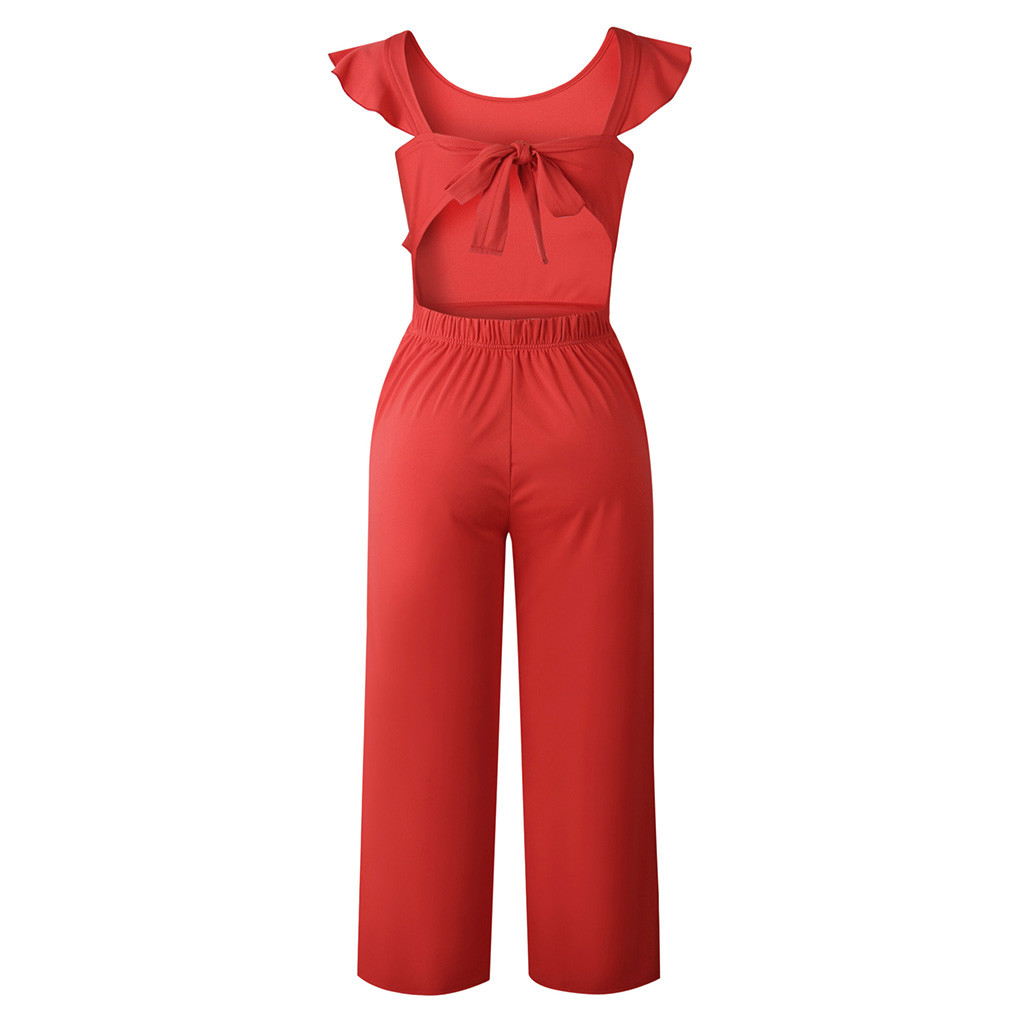 feitong Women Solid Color Sleeveless Dinner Evening Party Playsuit Romper playSuit Sexy Matching Sets solid color jumpsuit#g25