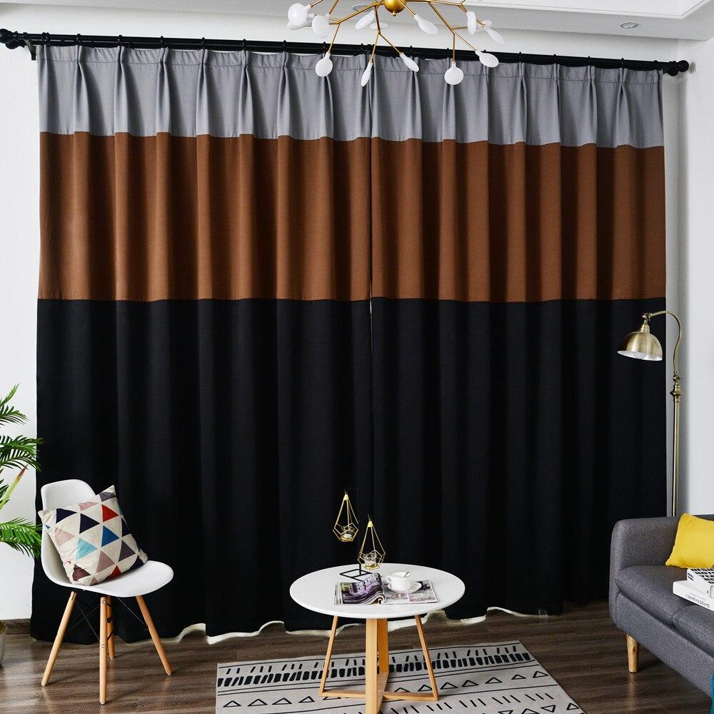 custom size 98 shading splice coffee grey black blackout curtain for bedroom xl diy brown window treatment living room kitchen