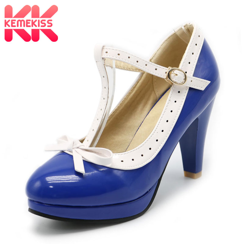 KemeKiss Size 32-48 High Heels Shoes Woman T Strap Summer Pumps Women Office Lady Platform Daily Work Dress Footwear