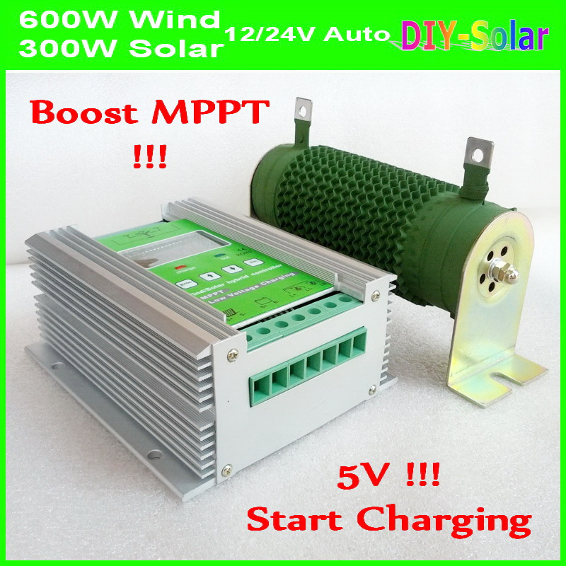 Solar Power 300W+Boost MPPT Wind Turbine 600W 12/24V Intelligent Hybrid Charge Controller, 900W Wind Solar Hybrid Controller 50A solar panels boost controller 48v60v72v electric vehicle charging converter 300w
